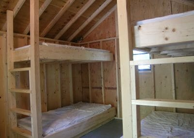 Brown cabin bunks